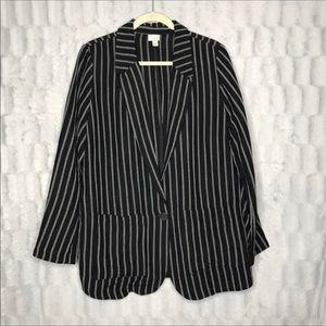 A New Day Black Striped Linen Single Button Blazer